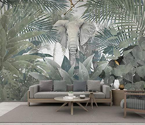 Murales de Pared Papel Pintado Selva Tropical Plantas Animales Elefante Paisaje Fotomurales Dormitorio Sala de Estar Sofá Fondo de Pantalla Decoración de la Pared Murales,250x175cm
