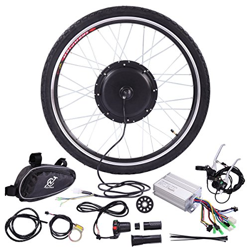 JAXPETY 36V 500W Electric Bicycle Cycle 26' E Bike Front Wheel Ebike Hub Motor Conversion Kit Hub Motor Wheel
