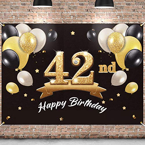 PAKBOOM Happy 42nd Birthday Banner Backdrop - 42 Birthday Party Decorations Supplies for Men - Black Gold 4 x 6ft