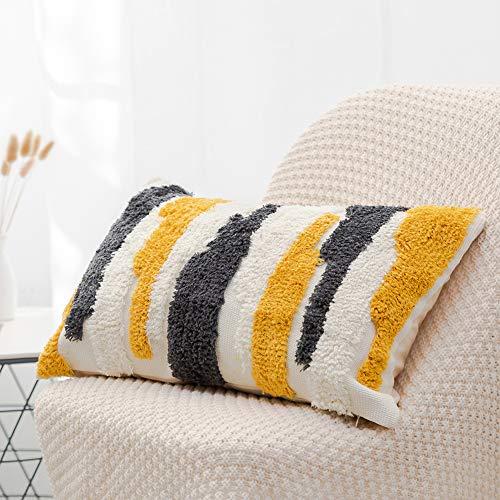Bigcozy Kissenbezug, getuftet, dekorativ, quadratisch, Boho Tribal-Kissenbezug, Baumwolle, gewebt, marokko-Dekor, für Sofa Couch Bett Marokkanisch Lumbar 12x20 inches Weiß Grau Gelb