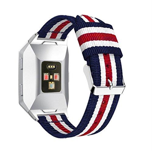 SHOBDW Fitbit Ionic Armband, Leicht Nylon Verstellbarer Ersatzband Sportgurt für Fitbit Ionic (135mm-205mm, D)