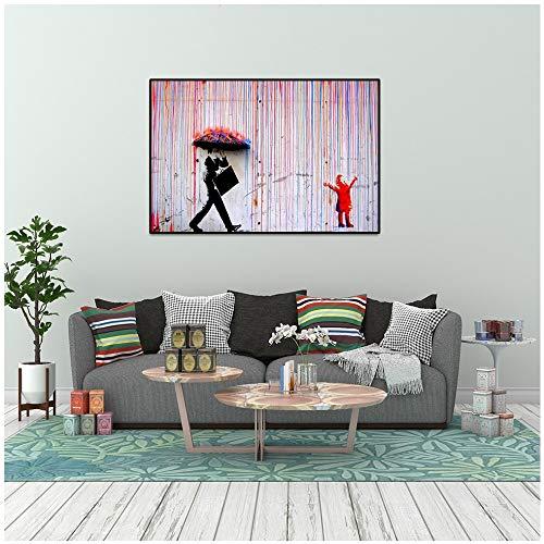 Banken Bunte Kunst Regen Leinwand Wandkunst Malerei Wohnzimmer Plakate und Drucke Hauptdekoration Leinwand Malerei rahmenlose Malerei 60x75cm