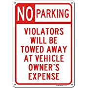 """Warning No Parking Sign Unauthorized Vehicles Will be Towed, Made Out of .040 Rust-Free Aluminum, Indoor/Outdoor Use, UV Protected and Fade-Resistant, 10"""" x 14"""", by My Sign Center"""