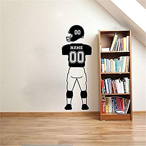 hetingyue Benutzerdefinierte Name Fußballspieler Nummer Wandaufkleber Sportbekleidung Hosen Vinyl Wand Wort Aufkleber Papier für Kinder Poster 162x57cm