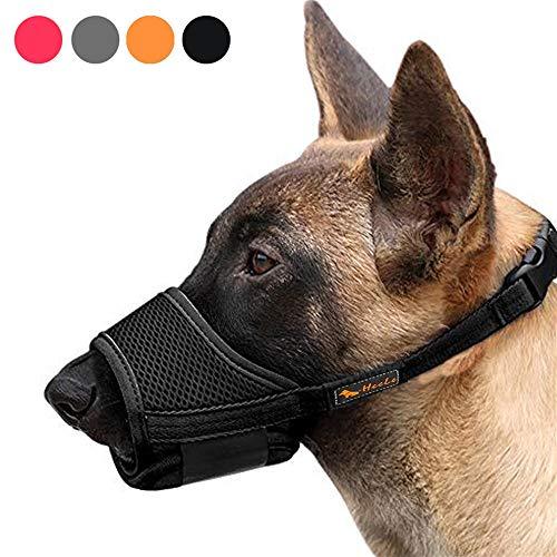 Heele Dog Muzzle Nylon Soft Muzzle Anti-Biting Barking, Black, Size M