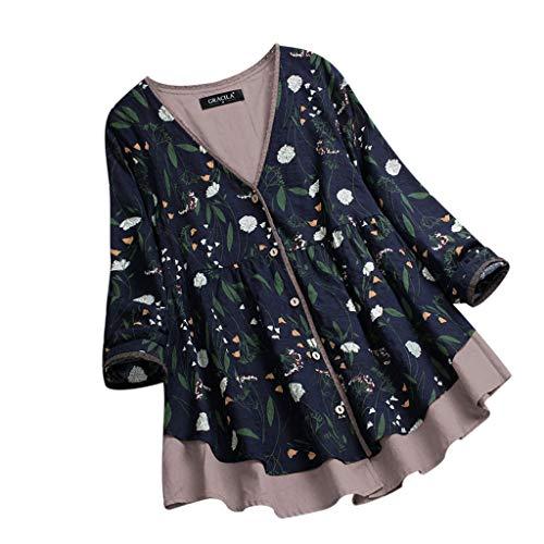 VEMOW Herbst Frühling Sommer Elegante Damen Frauen Stehkragen Langarm Casual Täglichen Party Strand Urlaub Lose Tunika Tops T-Shirt Bluse(Z2-Blau, 44 DE/XL CN)