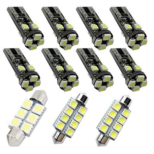 Para C30 S40 S60 S80 XC60 LED Bombilla Luz Interior de Coche Super brillante Luces lectura coche Dome Bombilla Canbus sin errores 12V Blanco 11 Piezas