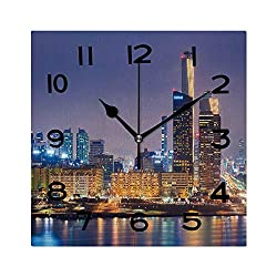 ALUONI Print Square Wall Clock, 8 Inch Seoul City and Han River at Yeouido South Korea. Quiet Desk Clock for Home,Office,School No107859