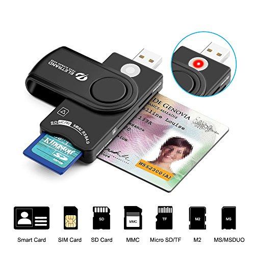 Eletrand USB 2.0 Chipkartenleser | Elektronischer ID Kartenleser und CAC Smart Card Reader | SD/Micro SD/M2/MS/SIM Karten Adapter | Kompatibel con Windows (32/64bit) XP/Vista/7/8/10, Mac OS und Linux