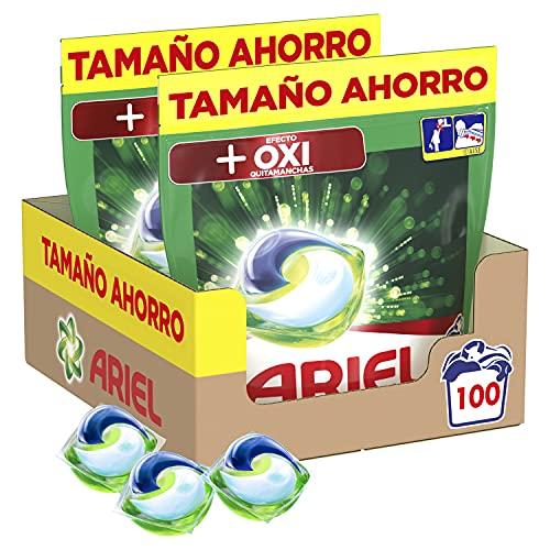 Ariel Pods Detergente Lavadora Cápsulas, 100 Lavados (Pack 2 x 50), Efecto Oxi Quitamanchas