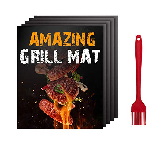 FUMENTON Grillmatte Für Gasgrill – 5 Stück Antihaft Grillmatte zum Kochen & Backen, grillfolie wiederverwendbar und leicht zu reinigen