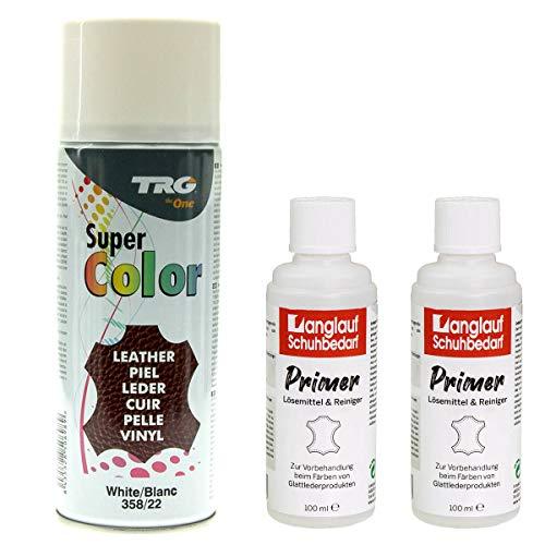 TRG Lederfarbspray 400ml Dose Lederfarbe + 2 Flaschen Primer Lederreiniger a100ml zum Umfärben von Glattleder (weiss 358/22)
