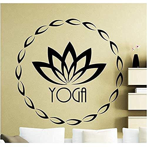 Wandsticker Lotusblume Sport Fitness Yoga Symbol Wandleuchte aus Vinyl für Innenbereich Dekoration Wasserdicht Art Mural 57 x 57 cm