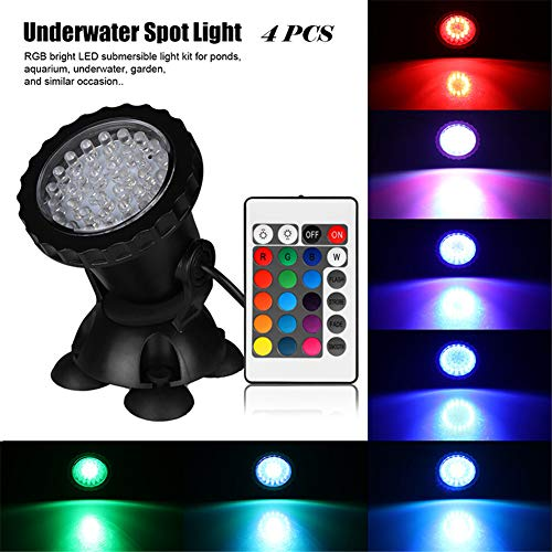 WANGJIANGLI Waterproof IP68 RGB 36 LED Underwater Spot Light for Swimming Pool Fountains Pond Water Garden Aquarium Fish Tank Spotlight Lamp,UK