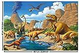 GREAT ART Poster – Dinosaurier Abenteuer – (59,4 x 42 cm) Wandbild Dekoration Prähistorische...