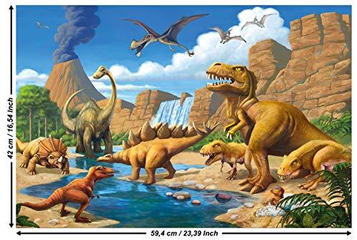 Great Art avontuur dinosaurus – muurschildering decoratie dinowelt comic stijl Jungle Adventure dinosaurus waterval fotobehang wandbehang fotoposter wanddecoratie 59,4 x 42 cm - 1 Teil