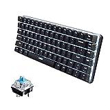 LexonElec Wired Gaming Keyboard Ajazz AK33 Blue LED Backlit 82 Keys USB Mechanical Pro Gamer Keypad for Office Typists Playing Game (Blue Switch, Black)
