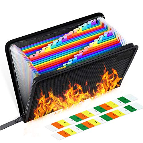 """Fireproof File Organizer, Expanding File Folder Important Document Fireproof Bags,Water Resistant Fire Safe Storage Pouch with Zipper for Money Cash,24 Pockets,A4 Size,Color Labels(14.3"""" 9.8"""")"""