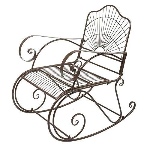 Lares & Penates Brown Metal Porch Rocking Chair, Garden, Deck, Backyard Armchair, Patio Single Rocker Chairs for Indoor, All Weather Indoor Outdoor Furniture