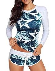 Yateen Women's Long Sleeve Sun Protection Rash Guard Wetsuit Two Piece Swimsuit Set