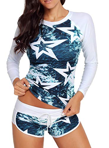 Yateen Women's Long Sleeve Sun Protection Rash Guard Wetsuit Two Piece Swimsuit Set Navy Blue