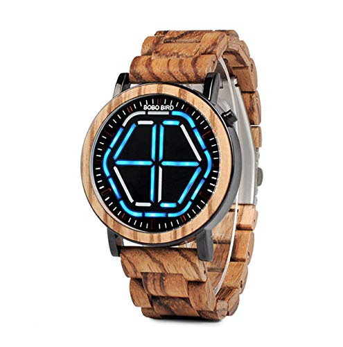 BOBO BIRD Bamboo Watch Mens Large Size Digital Led Display Night Vision Handmade Wooden Watches (Blue)