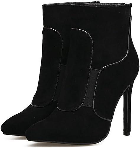 HBDLH HBDLH Chaussures pour Femmes Raccord Seule Botte avec des 11Cm Non Teint Zipper Velours Super Talon Haut Tête Pointue Maigre Talon Bottes.  magasin de gros