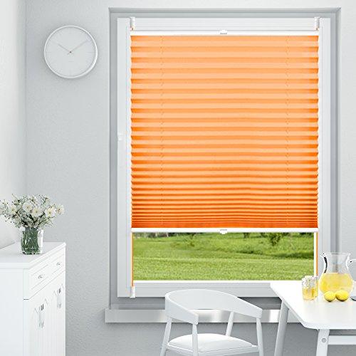 OUBO Plissee Klemmfix Faltrollo ohne Bohren Jalousie mit Klemmträger (Orange, B55cm x H120cm) Blickdicht Sonnenschutz und Sichtschutz Rollo für Fenster & Tür