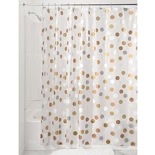 "InterDesign Gilly Dot Plastic Shower Curtain, PVC-Free Waterproof Liner for Kids', Guest, College Dorm, Master Bathroom, 72"" x 72"", Metallic"
