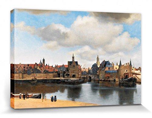 1art1 Johannes Vermeer - Ansicht Von Delft, 1660–1661 Bilder Leinwand-Bild Auf Keilrahmen   XXL-Wandbild Poster Kunstdruck Als Leinwandbild 120 x 80 cm