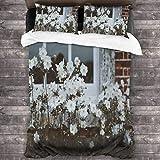 Juego de ropa de cama de 3 piezas con ventana de 218 x 177 cm, juego de edredón con 2 fundas de almohada cuadradas suaves para hoteles adolescentes