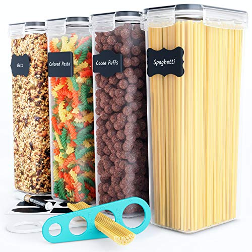 Chefs Path Airtight Tall Food Storage Container Set - Ideal for Spaghetti Noodles Pasta - 4 PCAll Same Size - Kitchen Pantry Organization - Plastic Canisters with Durable Lids Black