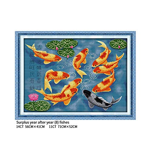 XIAOFANG Überschuss Jahr nach Jahr Fische (8) Kreuzstich Kit 14CT 11CT Leinwand Handarbeit Stickerei Set DIY chinesische Art Dekoration (Cross Stitch Fabric CT Number : 11CT Printed Cloth)