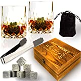 [Upgraded 2020] Whiskey Stones Set - Whiskey Glass Set for 2 - Whiskey Rocks Set - 8 Soapstone Scotch Chilling Rocks - 2 Large Whiskey Scotch Bourbon Glasses in Wooden Box - Gift Free Tong Bag