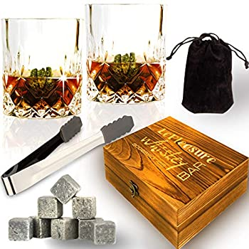 [Upgraded 2020] Whiskey Stones Set - Whiskey Glass Set for 2 - Whiskey Rocks Set - 8 Soapstone Scotch Chilling Rocks - 2 Large Whiskey Scotch Bourbon Glasses in Wooden Box - Gift Free Tong Bag