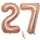 2 Globos Número 27 Años, Number 27 Globo Chica de oro rosa, 40Figuras de globos con globo de lámina de helio inflable, Globo gigante para la decoración de la fiesta de cumpleaños, Prom (xxxl 100cm)