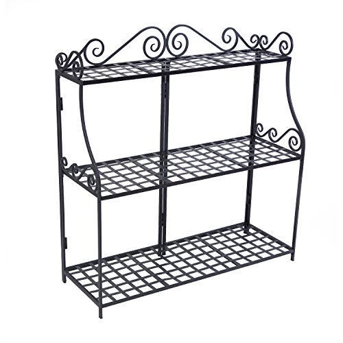 Panacea Products Forged 3-Tier Plant Stand, Black