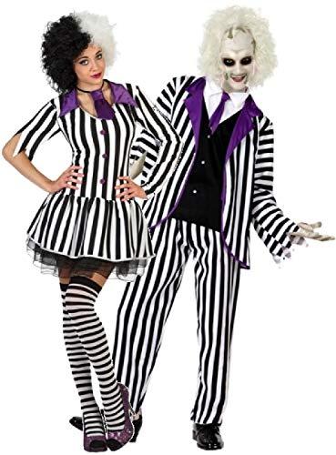 MENS STRIPY GHOST HALLOWEEN FANCY DRESS SCARY COSTUME+WIG+FACEPAINT S M L XL