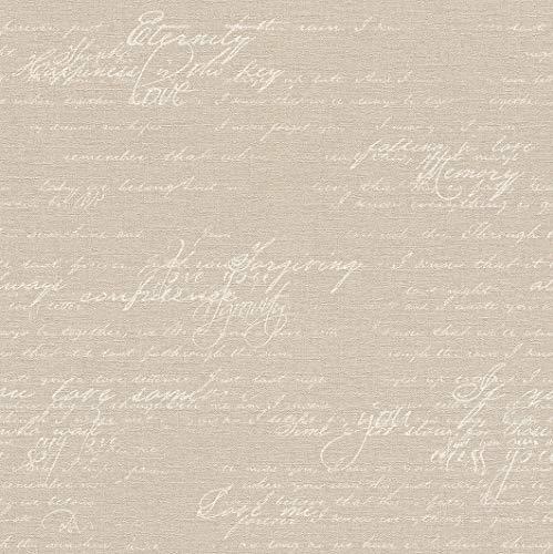 rasch Tapete 449563 aus der Kollektion Florentine II – Vliestapete in Braun mit beiger, kalligraphischer Schrift im Vintage Stil – 10,05m x 53cm (L x B)