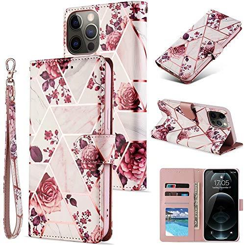 ROSEHUI Funda para iPhone 7 Plus, iPhone 8 Plus, diseño de mármol con flores geométricas, piel sintética de poliuretano suave, con cierre magnético, tarjetero, color oro rosa