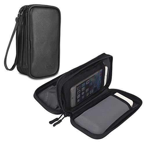 BUBM Travel Electronics Tasche, Tragetasche Organizer für Power Bank, Handy, Ladegerät, USB-Kabel & andere Handyzubehör, PU Schwarz