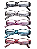 5-Pack Reading Glasses with Spring Temple for Women +3.5