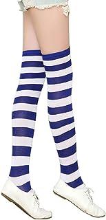Bullidea Long Over Knee Socks Women Girls Striped Thigh-High Stockings Cotton Warmer Various Colors (Blue)