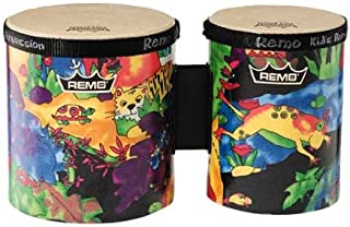 "Remo KD-5400-01 Kids Percussion Bongo Drum - Fabric Rain Forest, 5""-6"""