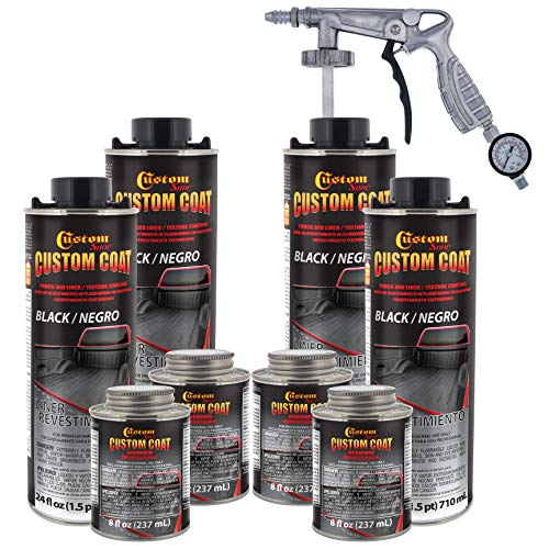 Custom Coat Black 1 Gallon Urethane Spray-On Truck Bed Liner Kit with Spray Gun and Regulator - Easy 3 to 1 Mix Ratio, Just Mix, Shake and Shoot It - Professional Durable Textured Protective Coating
