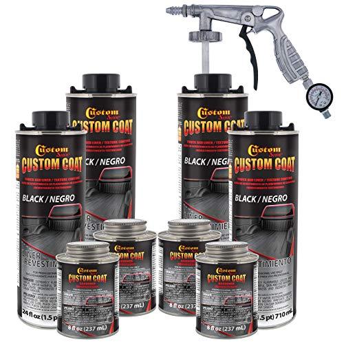 Custom Coat Black 1 Gallon Urethane Spray-On Truck Bed Liner Kit with Spray Gun and Regulator - Easy...