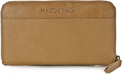 MASQUENADA, Leder Damen Geldbörsen, Börsen, Portemonnaies, Brieftaschen, 19,5 x 11 x 2,5 cm (B x H x T), Farbe:Camel