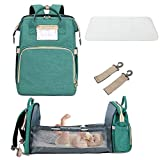 3 In 1 Travel Bassinet Foldable Baby Bed, Portable Diaper Changing Station Mummy Bag Backpack Crib, Portable Bassinets for Baby and Toddler, Travel Crib Infant Sleeper, Baby Nest with Mattress (Green)