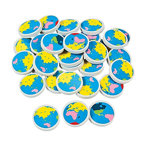 Fun Express Earth Erasers (4Dz) - 48 Pieces - Educational and Learning Activities for Kids