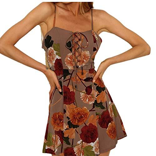 Best Prices! Womens Summer Sleeveless Floral Print Bandage Beach Dresses Casual Spaghetti Strap Mini Dress Coffee